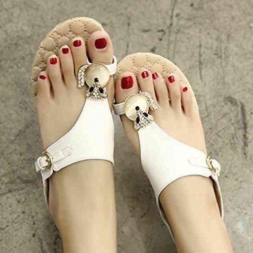 Sandals XIAOLIN Summer Korean Wave Fashion Students Flat With Toe Fox Diamond Flat Women's Slippers(Optional Size) (Color : Black, Size : EU39/UK6.5/CN40) Black