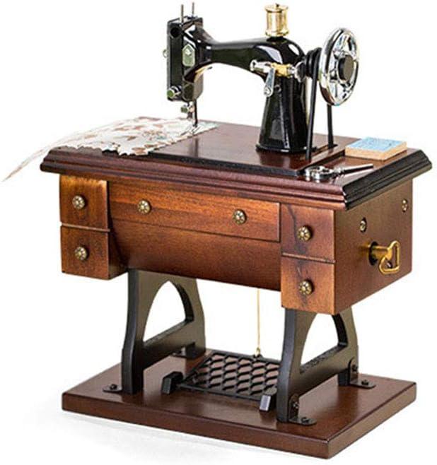 N / A Caja de música de máquina de Coser, Adornos Decorativos de Mini máquina Retro, artesanías de máquina de Coser de simulación Antigua de Madera, para escritorios/Regalos de Juguetes para niños