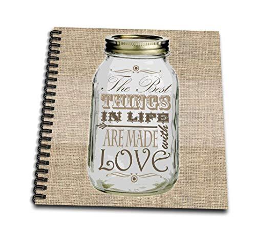 黄麻布プリントに3dRose メイソンジャー - The Best Things In Life Are Made with Love - クック用ギフト - ミニメモパッド 4 x 4インチ (db_128507_3)