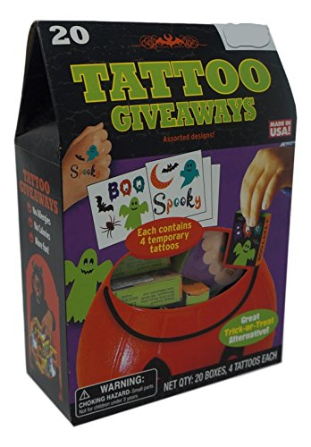 Halloween Tattoo Giveaways In A Box- Assorted Designs (Ghosts, Spiders, Pumpkins + more)