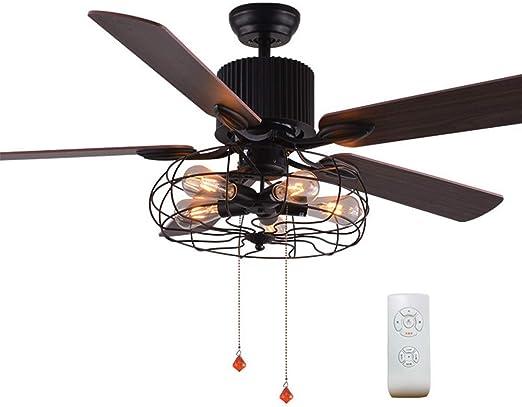 Luz de ventilador de techo de estilo industrial nórdico, moderno 5 ...