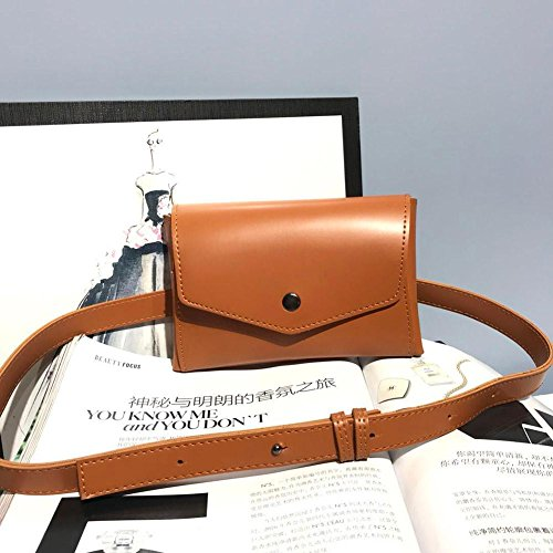 Leather Brown Simple Shoulder Bags Chest Hasp Domybest Women Packs Waist Crossbody Chain wPEdn1qx