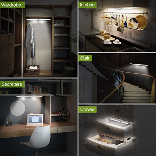 Magnetic Battery Light, LED Closet Lights Rechargeable Battery Operated, Motion Sensor Wireless Under Cabinet Lighting, 20 LEDs Super Bright Night Light, Build-in Magnetic Light Bar Stick-on Anyw by Cefrank (Image #5)