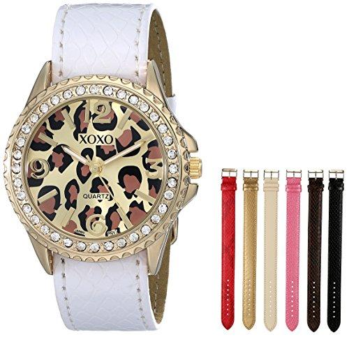 Embossed Shiny Snake - XOXO Women's XO9040  Seven Color Snake-Embossed Interchangeable Strap Set Watch