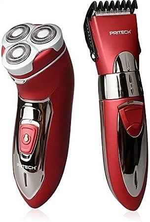 Pritech Duo - Afeitadora eléctrica (3 cabezales impermeables y cortapelos, 2 unidades), color rojo: Amazon.es: Salud ...