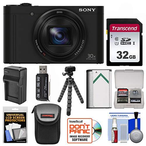 Sony Cyber-Shot DSC-WX500 Wi-Fi Digital Camera (Black) with 32GB Card + Battery + Charger + Case + Flex Tripod + Kit