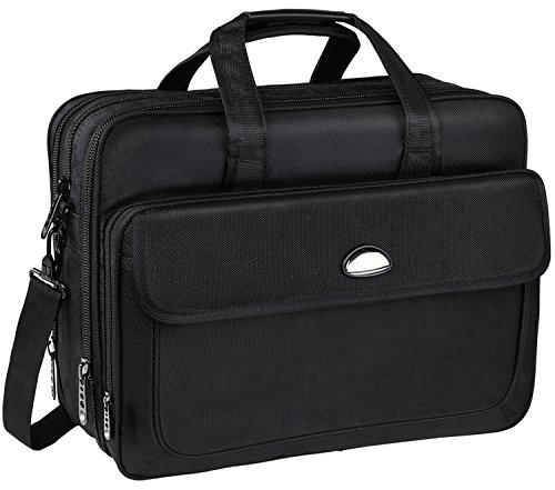 17 inch Laptop Bag, Travel Briefcase with Organizer, Expandable Large Hybrid Shoulder Bag, Water Resisatant Business Messenger Briefcases for Men Fits 17.3 Inch Laptop, Computer, Tablet-Black