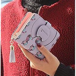 Sophia Monedero de Mujer, Borla de Gato de Dibujos Animados Cuero de PU Cuero de Mujer Diseño Monedero Monedero de Mujer Bolso de niña Linda,D