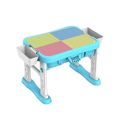 Mesa de madera for niños Mesa de juego for bebés multifunción 3-6 años Bloques de construcción de rompecabezas for niños y niñas Mesa de juguete ensamblada ( Color : Azul , tamaño : 50x50x65cm ): Hogar