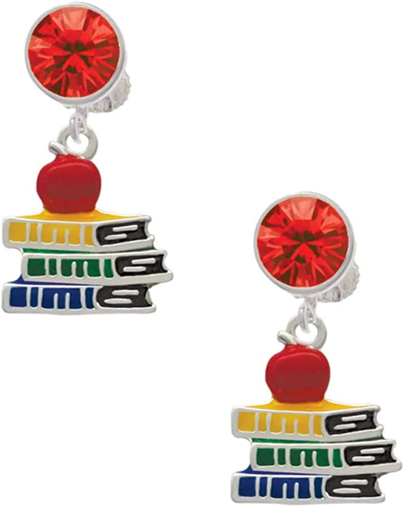 Silvertone Enamel School Books with a Red Apple - Red Crystal Clip on Earrings