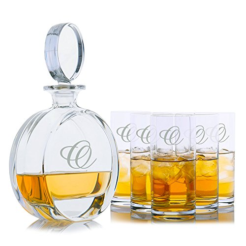 Personalized Cooper Liquor Whiskey Crystal Decanter & 6 Crystal Cocktail Highball Glasses Engraved & Monogrammed - Great Gift for Father's Day, Weddings and Groomsmen