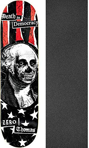 "Zero Skateboards Jamie Thomas Death to Democracy Skateboard Deck - 8.25"" x 31.9"" with Mob Grip Perforated Black Griptape - Bundle of 2 Items"