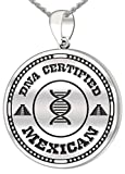 0.925 Sterling Silver 1in DNA Certified Mexican Heritage Pendant Medal with Flag 3.3mm Rope Necklace, 24''