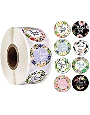 """Thank You Stickers Floral 1"""" Thank You Seal Sticker Roll for Business 500pcs Thank You Labels for Gifts Bags, Envelopes, Craft Shops Packing Bags, Baking Stores"""