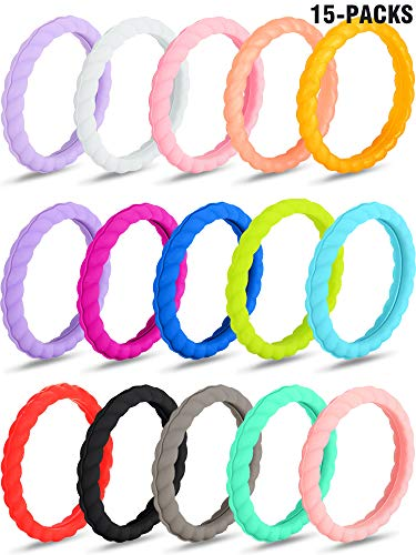 Zhanmai 15 Pieces Assorted Colored Silicone Rings Silicone Wedding Rings Thin Stackable Rubber Braided Rings for Women (Size - Colored Assorted Rubber