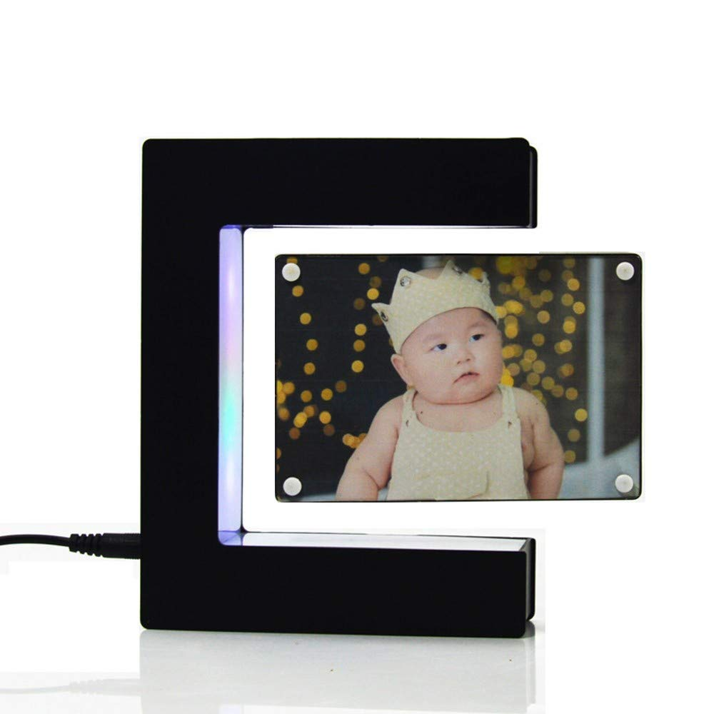 Linlyca Anti Gravity Floating Photo Frame LED Magnetic Levitation Pictures Frame E-Shaped Photo Frame Magnetic Suspension Photo Frame Home Office Wedding Decoration