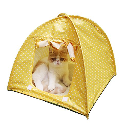 Doglemi Cat Pet Camping Tent House Foldable Bed Durable Cute Polka Dots Cave-Yellow For Sale