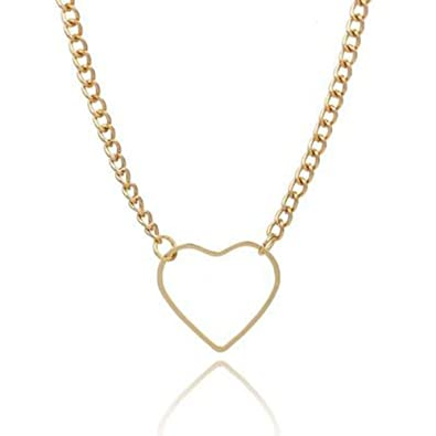ba324b0291 MINGHUA Love Heart Charm Choker Necklaces Twist Chain Collar Necklace for  Girls Gift (Gold)