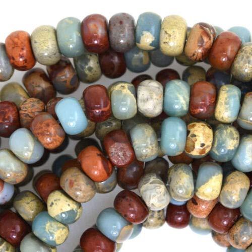 buyallstore Brown Blue Sea Sediment Jasper Rondelle Beads 15.5