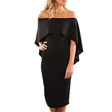 Women Flare Cold Off Shoulder Batwing Cape Sexy Party Pencil Dress Ball Gown