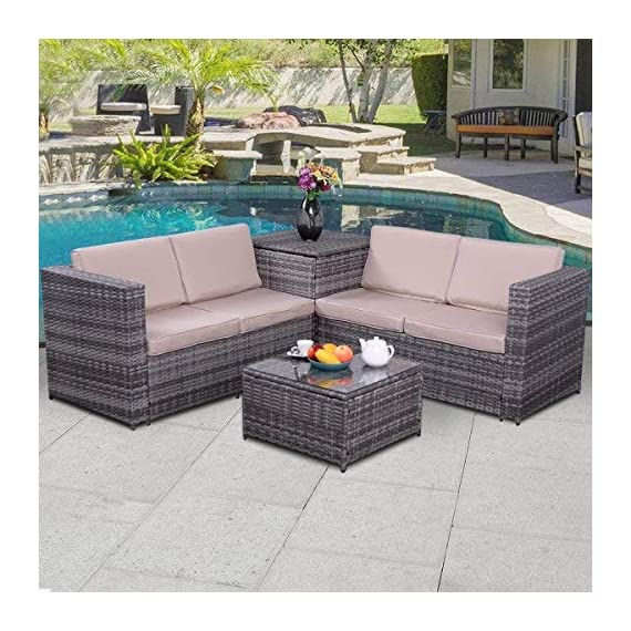 """Tangkula 4PCS Patio Sofa Set Wicker Rattan Outdoor Garden Lawn Cushioned Seat with Storage Conversation Set (Mix Grey) - 【Sturdy & Durable】Tangkula outdoor wicker set with storage box is made of steel frame and PE wicker. Steel frame provides large weight capacity and stable construction, PE wicker is weather-proof and stay longer than normal wicker. Coffee table comes with tempered glass top, which is safer and easy to clean. 【Compact & Practical】The outdoor wicker set includes 2 loveseat sofa, 1 coffee table and 1 storage box. Compact and simple design. You can storage the cushions in there when the set is idle, and also can storage the toys or daily supplier in the box in summer days. Storage box comes with a waterproof inner cover. It's no need to worry about the items in the box even in rainy days. 【Installation & Size】With our manual it's easy to assemble. All hardware and tool are included in the box. Size of loveseat: 47.5""""x26""""x26""""(LXWXH), Size of storage box: 26""""x26""""x26""""(LXWXH), Size of coffee table: 22""""x22""""x13""""(LXWXH) - patio-furniture, patio, conversation-sets - 51XpieDfVRL. SS570  -"""