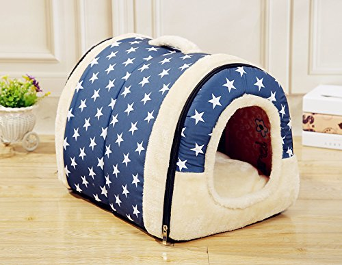 bluee Star L bluee Star L Sesaisi Dog and Cat House Pet Bed Dog Bed Folding Nest (L, bluee Star)