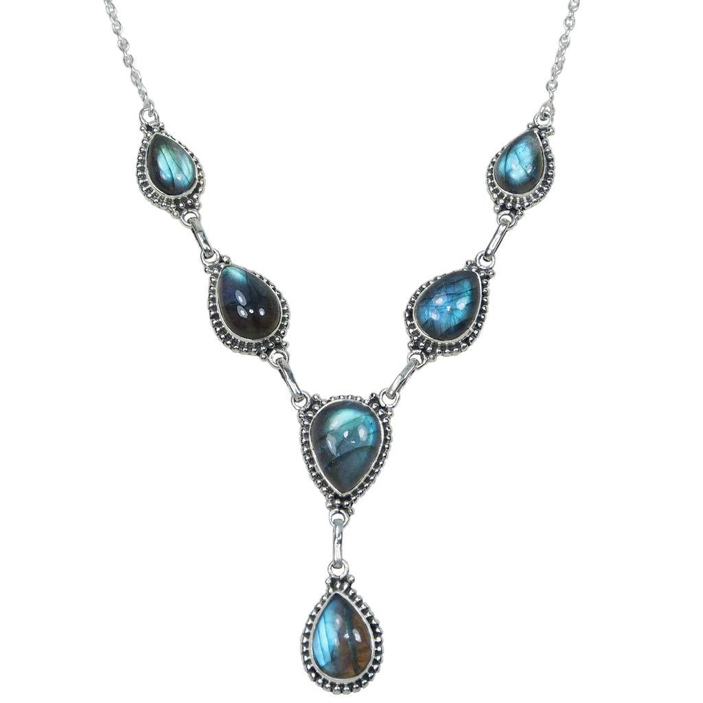 CZgem Genuine Labradorite Necklace 925 Sterling Silver Oval Shape Women's Fashion Necklace 18.5''