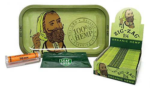 Zig Zag Organic Hemp Rolling Tray, Zig Zag Hemp 1 1/4 Rolling Papers (Full Box/24 Packs), Zig Zag Cigarette Maker and Leaf Lock Gear Smell Proof Tobacco Pouch by Zig Zag, Leaf Lock Gear