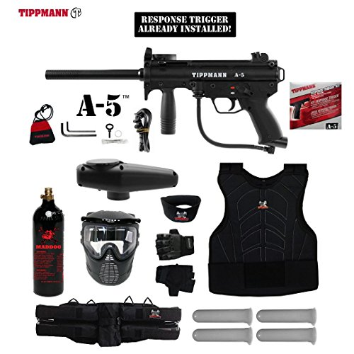 MAddog Tippmann A5 A-5 w/Response Trigger Starter Protective CO2 Paintball Gun Package - -