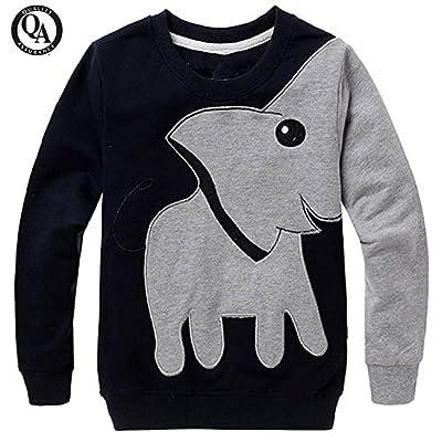 Boys Shirts Toddler Long Sleeve Top,Blinvas Elephant Black Sport Sweatshirt Kids Size 1-6T