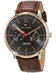 Tommy Hilfiger Men's 'Sophisticated Sport' Quartz Stainless Steel and Leather Casual Watch, Color:Brown (Model...