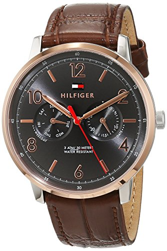 Tommy Hilfiger Men's Sophisticated Sport Stainless Steel Quartz Watch with Leather Calfskin Strap, Brown, 0.75 (Model: 1791357