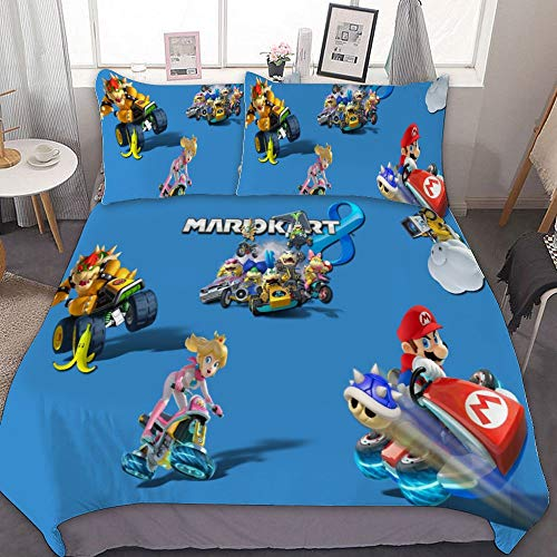 Harvey Rhodes Mario Kart 8 Video Games Toad Mario Bros, Comforter Set Full, 3 Piece Bed Sets, Ultra Soft Microfiber Unisex Bedding Set Modern Pattern Printed,Twin (Harveys Sets Furniture Bedroom)