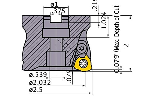 3 Carbide Inserts Right Hand Mitsubishi AJXU14R2503C Series AJX Arbor Face Milling 1.000 2.500 Cutting Diameter