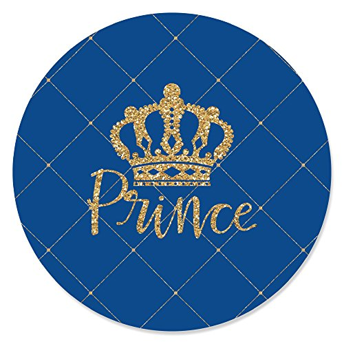 Royal Prince Charming - Baby Shower or Birthday Party Circle Sticker Labels - 24 Count