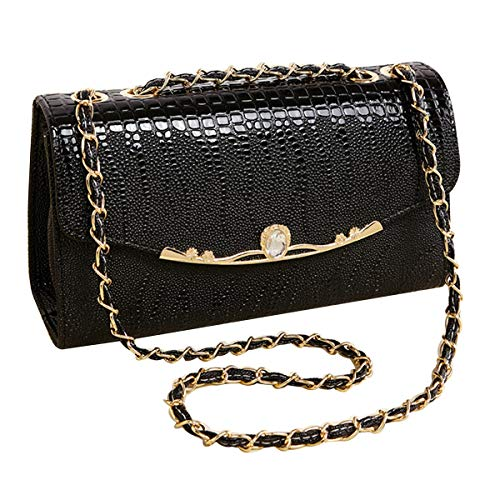 Convertible Shoulder Faux Fashionable Black Bag Bag Textured Body Flap Leathe Felice Womens Cross wp18gqga