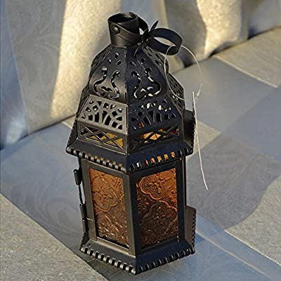 Your Supermart Glass Metal Moroccan Table Lantern Light Delight Garden Candle Holder Yellow