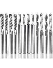 "12 STKS Carbide End Mill Cutter, AFUNTA 4 STKS 1/8 ""CNC Router Bits Dubbele Fluit Gereedschap + 8 STKS 1 Fluit Single Edged Frees (2 Types) voor Nylon, Hars, ABS, Acryl, PVC, MDF, Hardhout"