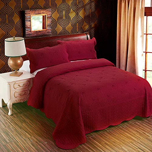 3-Piece Quilt Coverlet Bedding Set Full/Queen Size Bedspread Floral Pattern Exquisite Embroidery Lightweight Hypoallergenic,Burgundy