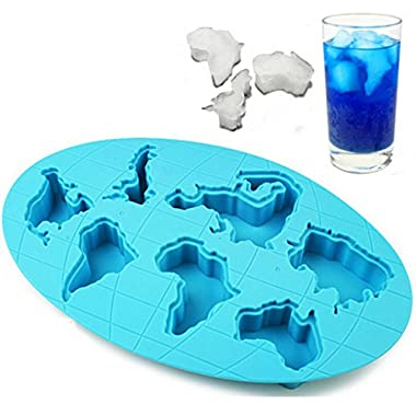 ULATREE Global Warming Shaped Link The World Map Novelty Gift Ice Cube Tray Mold