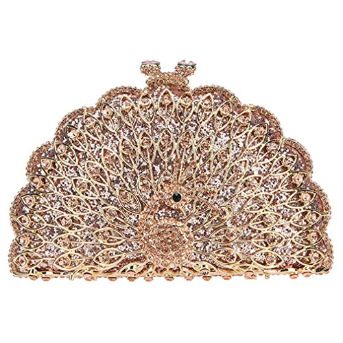 For Bags Gold Peacock Bag Purses Women Evening Cute Glitter Animal Clutches And Rose Clutch w60wBq