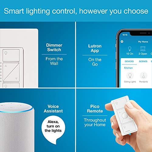 Lutron Caseta Smart Start Kit, Dimmer Switch with Smart Bridge and Wall Mount Pico Adapter, Works with Alexa, Apple…