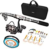 PLUSINNO Spinning Rod Reel Combos Full KIT Telescopic Fishing Rod Pole Reel Line Lures Hooks Fishing Carrier Bag Case Accessories Fishing Gear Organizer