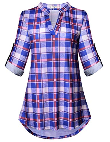 (Viracy Formal Tops for Women, Misses Color Block Shirts Business Long Sleeve Career Clothing Plaid Pattern Shawl Collar Neckline Form Fitting Designer Gingham Blouse Petite Red and Blue M)