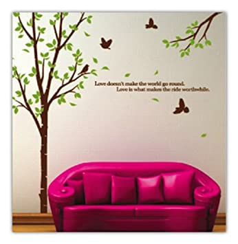 WallStickersUSA Tree With Flying Birds Wall Sticker, Brown, Green, X Large