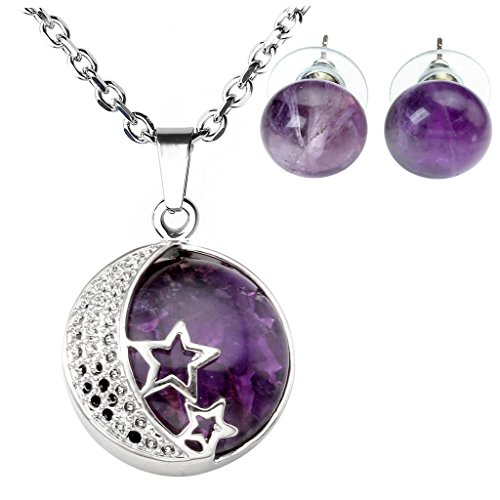 Jovivi Moon Star Natural Amethyst Gemstones Healing Crystals Necklace Pendant & Abacus Stone Bead Stud Earrings Jewelry Sets