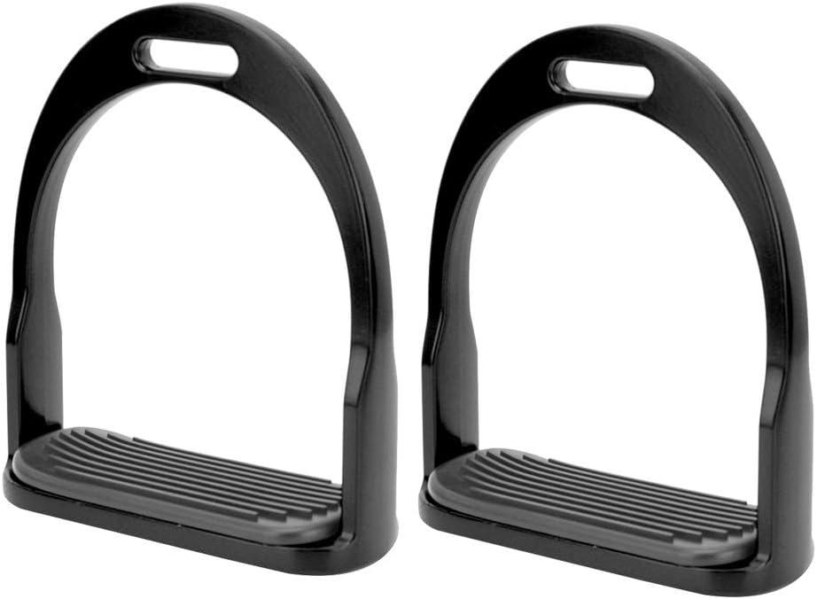 HEEPDD 1 par de estribos, Antideslizante de Aluminio de la Silla del Caballo Estribos ingleses con Acero Inoxidable Pedal Antideslizante Montar a Caballo Seguridad Ecuestre(Negro)