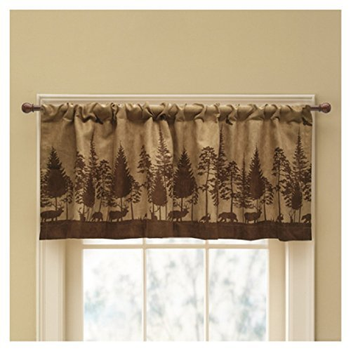 Cabin Pine Lodge Wildlife Window Valance, Rich Browns, Modern Rustic - Cabin Treatments Window