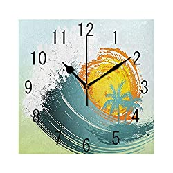MTDKX Square Wall Clock Battery Operated Quartz Analog Quiet Desk 8 Inch Clock, Exotic Coconut Palm Trees Sun Ocean Wave Summer Graphic