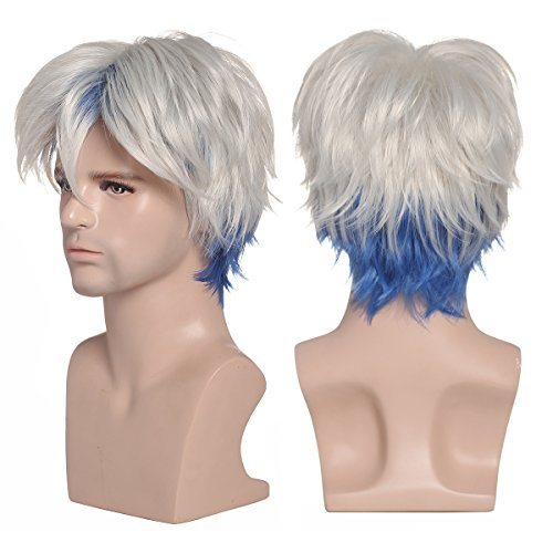 Price comparison product image ColorGround Short Silver White with Blue Prestyled Cosplay Wig